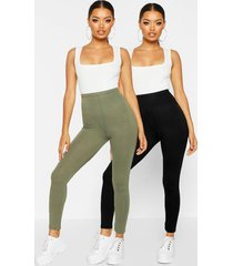basic leggings met hoge brede taille (2 stuks), kaki