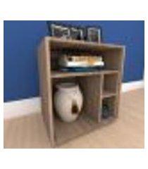 mesa de cabeceira formato s minimalista em mdf amadeirado