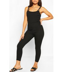 petite getailleerde geribbelde jumpsuit met bandjes, zwart