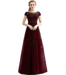 kivary bateau sheer short sleeves long beaded prom evening dresses burgundy plus