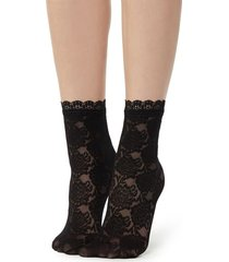 calzedonia fancy floral-patterned socks with lace detail woman black size tu