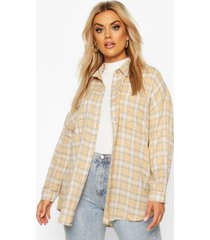 plus flannel oversized boyfriend shirt, stone