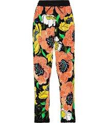 ashish sequin-embellished floral-print track pants - black