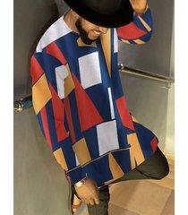 camiseta casual de manga larga con estampado geométrico en bloques de color para hombre
