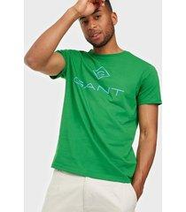 gant d1. color lock up ss t-shirt t-shirts & linnen green