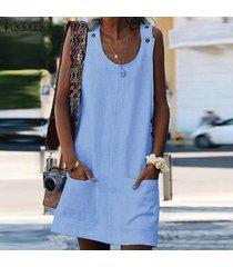 zanzea mujeres con tiras tapa de la túnica camisa de la blusa sin mangas t vestido de tirantes mini vestido -azul claro