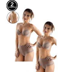 kit 2 conjuntos sutiãs costa invisível e calcinhas caleçon tivesty marrom