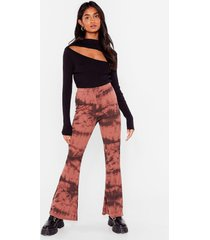 womens groove tonight tie dye flare pants - mauve