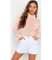 roll neck crop sweater, blush