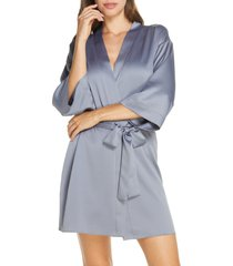 women's flora nikrooz victoria satin short robe, size x-small/small - grey