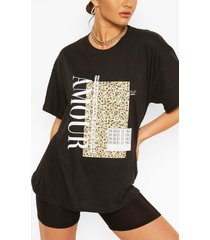 amour leopard block print t- shirt, black