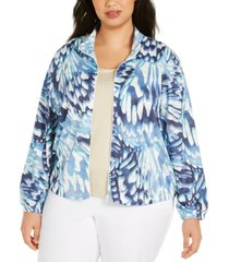 alfred dunner plus size classics abstract butterfly zip-front jacket