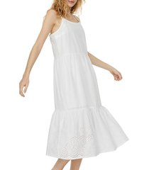 women's vero moda halo eyelet sleeveless tiered dress, size large - white