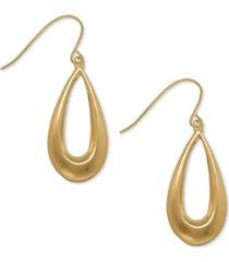 teardrop wire drop earrings in 10k gold, 1 1/8 inch