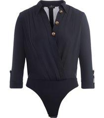 elisabetta franchi bodysuit shirt in black fabric with golden buttons