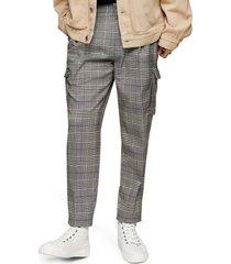 men's topman check cargo slim fit pants, size 32 x 32 - grey