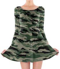 military camouflage longsleeve skater dress
