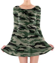 military camouflage longsleeve skater dress