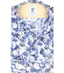 r2 shirt mouwlengte 7 blauw geprint