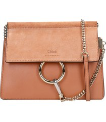 chloé faye mini shoulder bag in powder suede and leather