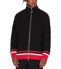 ax armani exchange men's turtleneck full-zip cardigan with striped hem