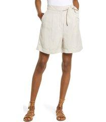 women's madewell women's high waist side tie linen blend bermuda shorts, size 2 - beige
