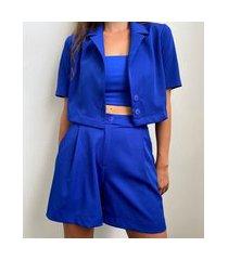 blazer feminino mindset cropped manga curta azul royal