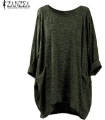 zanzea pullover bolsillos tops mujeres o cuello de manga larga sólido blusas flojas ocasionales -verde