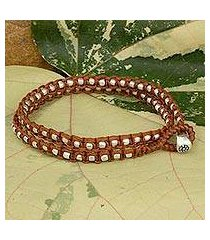 braided wrap bracelet, 'floral moon in brown' (thailand)