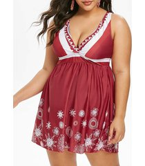 printed cut out back skirted plus size tankini swimwear