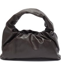 the shoulder' gathered leather small pouch bag