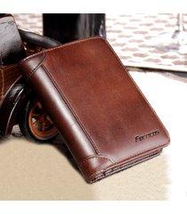 ferricos uomo vintage portafoglio corto a tri-fold in pelle vera con rfid antimagnetico a grande capacità