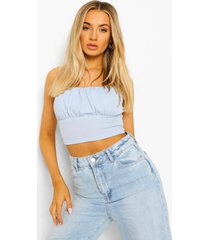 geplooide geribbelde crop top, pale blue