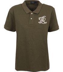 military green cotton polo shirt