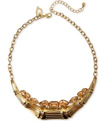 "thalia sodi gold-tone multi-stone & bamboo statement necklace, 18"" + 3"" extender, created for macy's"