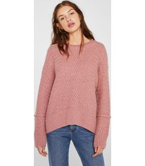 sweater textura con lana rosado esprit