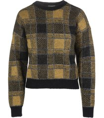 woman yellow and black checked sweater