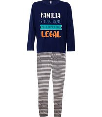 pijama masculino longo plus size listrado família legal luna cuore