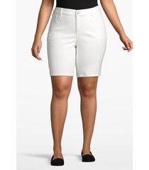 lane bryant women's venezia denim bermuda short - white 26 white rinse wash