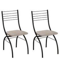 conjunto com 2 cadeiras devon palha e preto