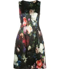 adam lippes floral print flared dress - black