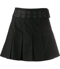 junya watanabe pleated twill mini skirt - black