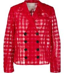 marco de vincenzo boxy tulle blazer - red
