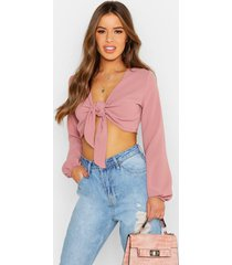 petite tie front crop top, blush