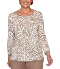 alfred dunner petite first frost animal-print jacquard sweater