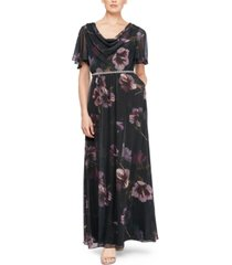 sl fashions petite embellished floral-print gown