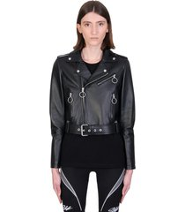off-white liquid melt leather jacket in black leather