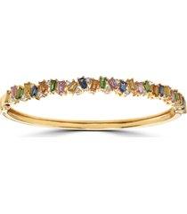 effy multi-sapphire (3-7/8 ct. t.w.) & diamond (1/3 ct. t.w.) bangle bracelet in 14k gold
