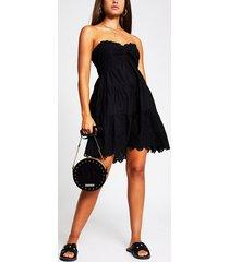 river island womens black broderie frill shirt beach dress
