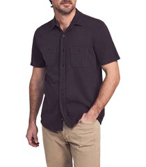 faherty seasons regular fit knit short sleeve button-up shirt, size xx-large in washed black at nordstrom